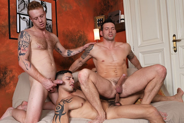 Julio Rey and Tom Vojak bareback Rado Zuska in Strangers in Prague 3 at Kristenbjorn