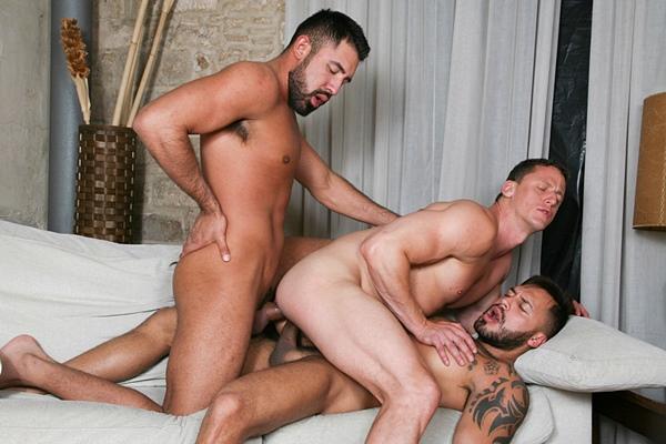 Viktor Rom and Gabriel Taurus bareback Ivan Gregory in Meat Men: Trinomial at Kristenbjorn