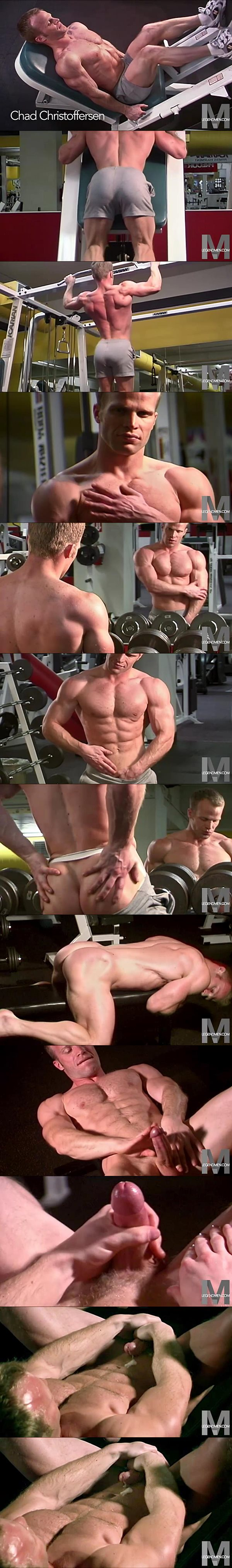 Hot Bodybuilder Chad Christoffersen shoots his thick load at Legendmen