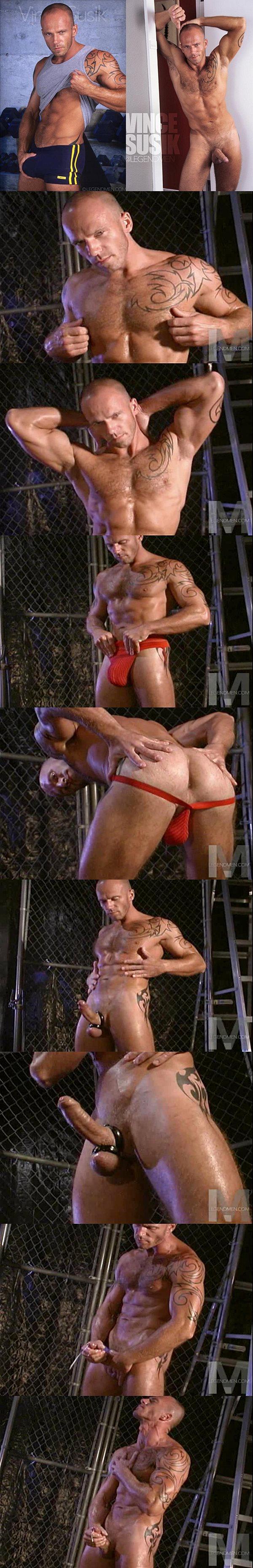 Rugged handsome skinhead Vince Susik wanks off at Legendmen