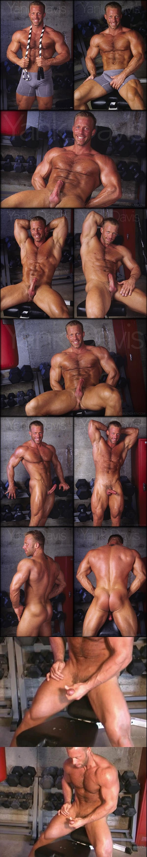 Masculine hunk Yank Davis jerks off at the gym at Legendmen