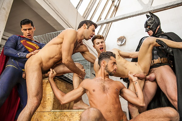 Topher DiMaggio Fucks Allen King, Dario Beck, Massimo Piano and Trenton Ducati in Batman V Superman A Gay XXX Parody Part 3 at Jizzorgy