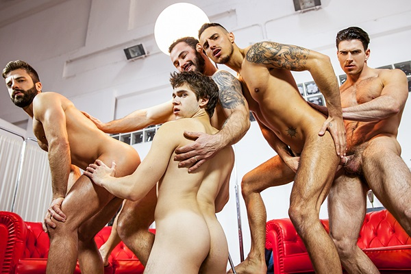 Paddy O'Brian and Jessy Ares fuck Will Braun, Hector De Silva and Klein Kerr in Lost Boys Part 3 at Jizzorgy