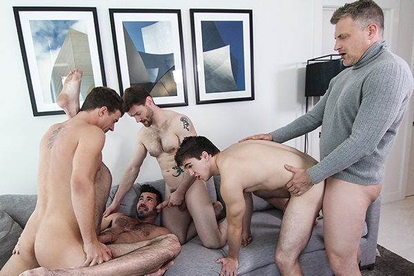 A Sneak Peek of Brenden Cage, Dennis West & JJ Knight fucking Billy Santoro & Will Braun at Jizzorgy