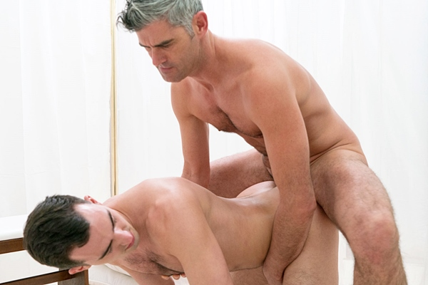 Hot silver fox President Oaks barebacks Elder Dudley in Washing, Anointing and Initiation at Mormonboyz