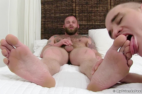 Adam Bryant worships Derek Parker's socks and feet before Derek jerks off at Myfriendsfeet