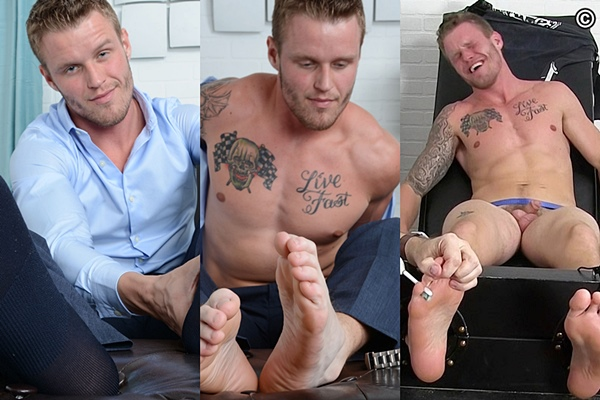Handsome blond jock Shawn Reeve gets tied up and tickled naked at Myfriendsfeet