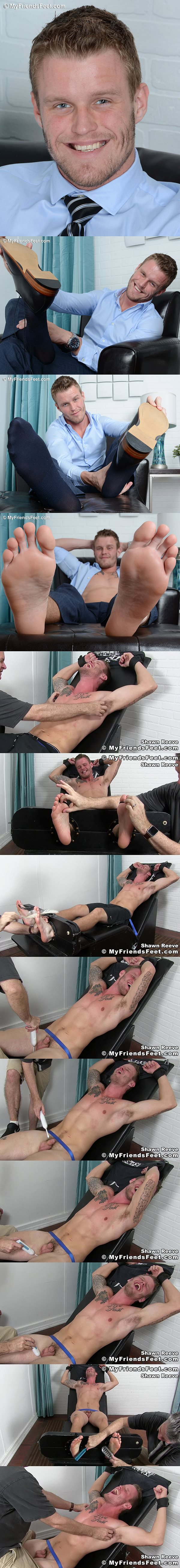 Handsome blond jock Shawn Reeve gets tied up and tickled naked at Myfriendsfeet 02