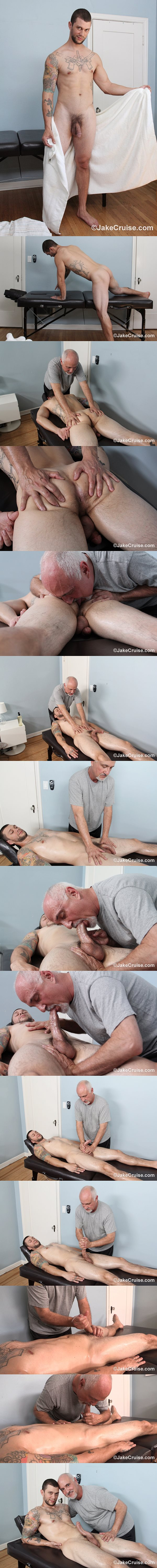 Hot hung muscle hunk Mike Fox gets massaged and jerked off at Jakecruise