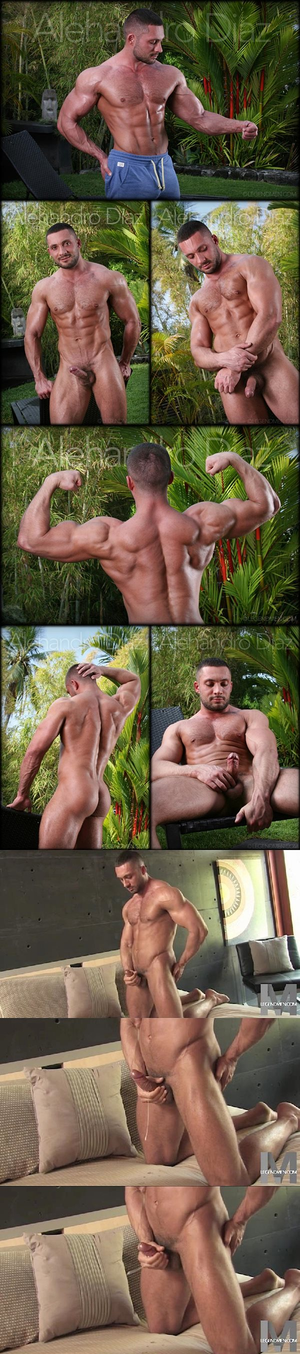 Hot macho hunk Alehandro Diaz shoot his creamy load at Legendmen