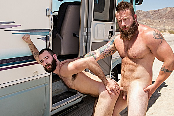 Hot hairy hunk Aaron Bruiser barebacks Stephen Harte in Dirty Rider Part #1 at Bromo