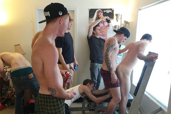 Mickey, Luke, Stone & John gangbang bareback Jessie's virgin ass in Fratboy Punishment at Fraternityx
