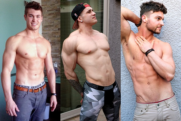 Hot muscle jocks Chris Kohler, Johnny Pitt and Rob Burry jerk off at Gayhoopla