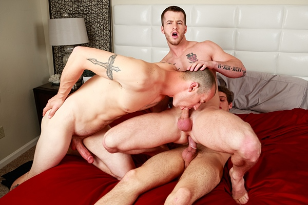 Mark Long and Michael DelRay fuck Quentin Gainz in Cocky Straight Boys at Nextdoorstudios