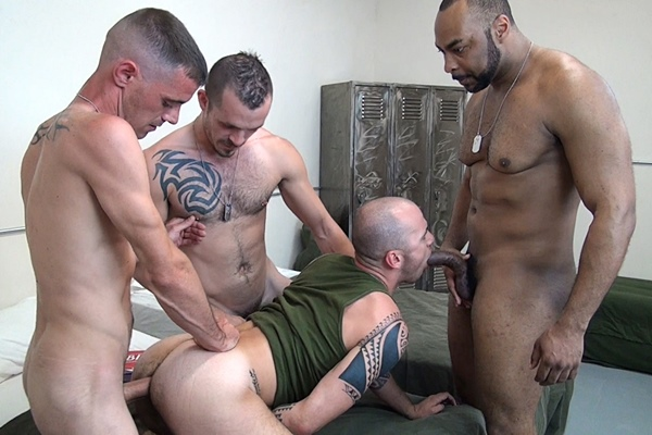 Brett Bradley, Ray Diesel and Jimmie Slater gangbang breed Cam Christou at Rawfuckclub