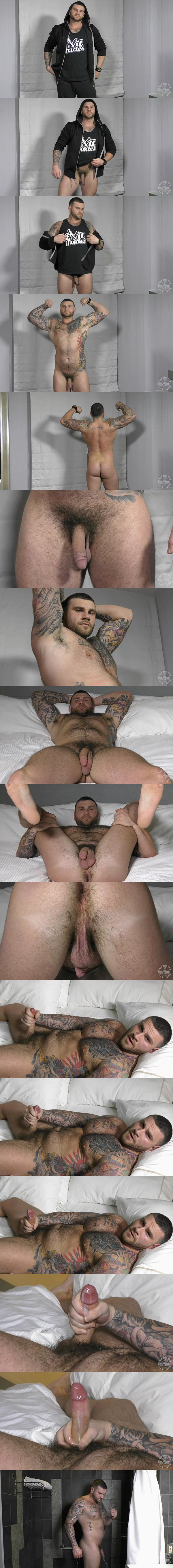 Masculine inked stud Chris shoots his creamy load at Theguysite