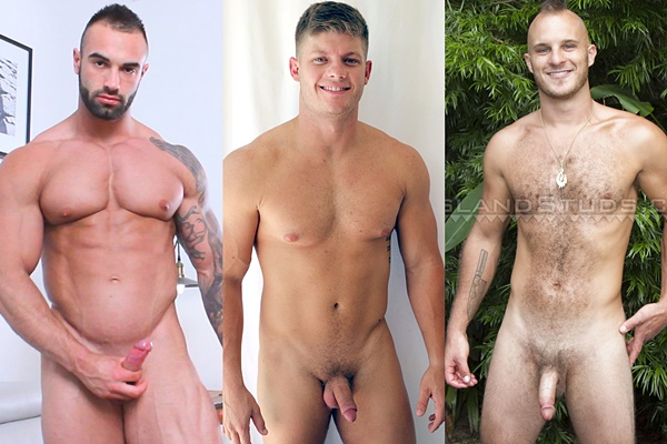 Handsome muscled studs Calvin, Jesse Brooks and Rich shoot their hot loads