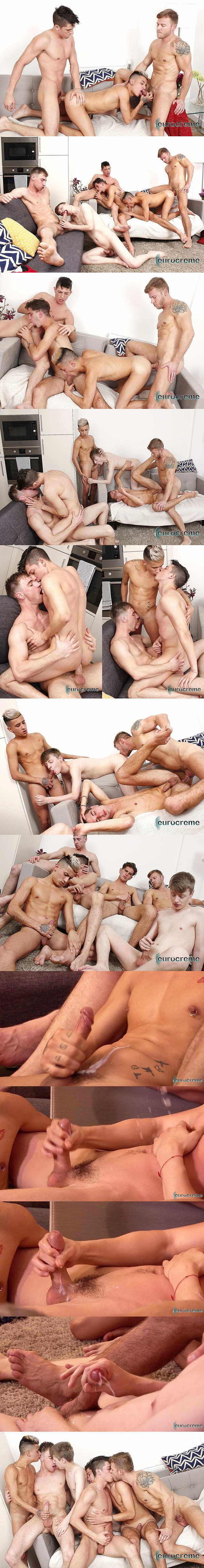 Matthew Anders and Kayden Gray fuck Danny Montero, Cory Prince, Lyle Boyce and Ross Drake in Big Dicked Orgy at Eurocreme 02