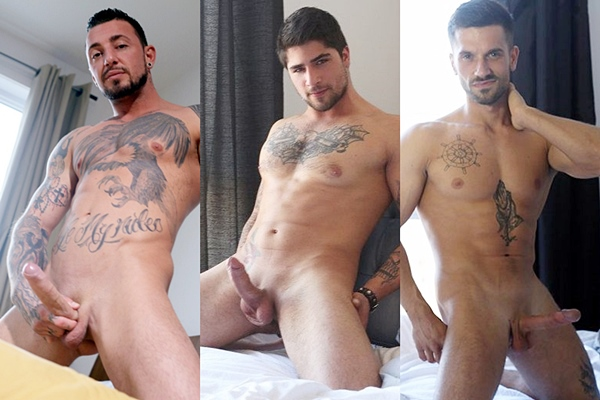 Handsome muscle hunks Enzo, Giuliano and Raphael shoot their hot loads at Menofmontreal
