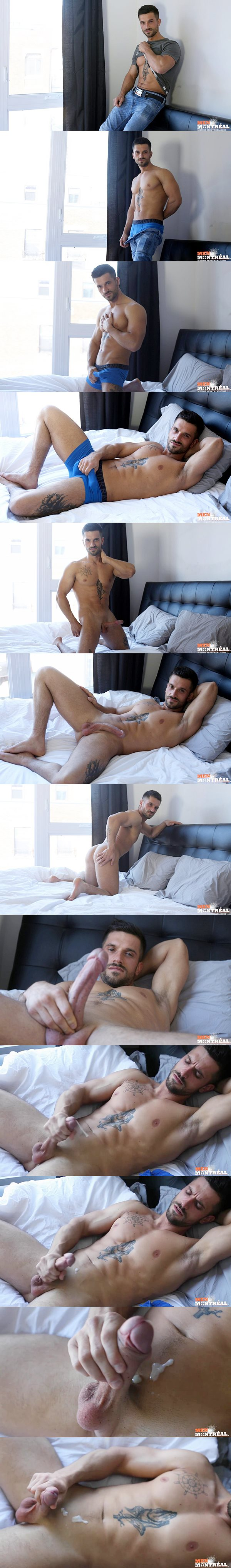 Sexy male stripper Raphael shoots his sticky loads at Menofmontreal