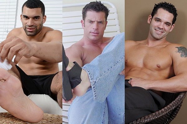Handsome muscle hunks Cash, Frank and Gio show off their ripped bodies and hot feet at Myfriendsfeet