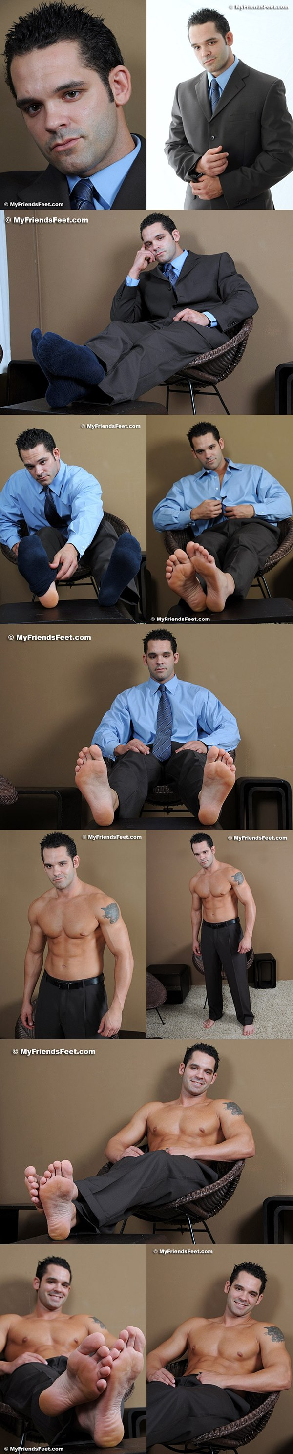 Hot  personal trainer Gio's size 13s in dress socks & bare at Myfriendsfeet
