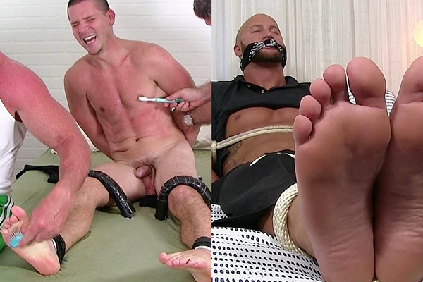 Hot straight guys Nito and Jason James get tickled and foot worshiped at Myfriendsfeet