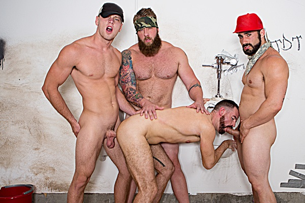 Aaron Bruiser, Brandon Evans and Jaxton Wheeler gangbang Brendan Patrick in Red Necks Part 4 at Bromo
