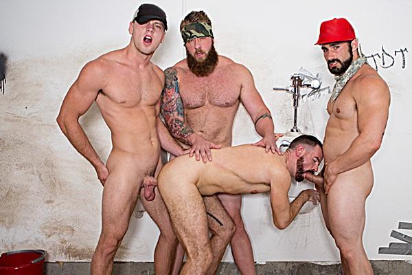 Aaron Bruiser, Brandon Evans and Jaxton Wheeler gangbang Brendan Patrick in Red Necks Part 4 at Bromo