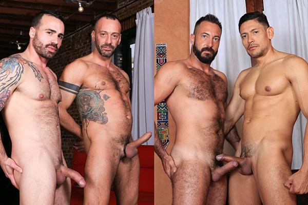 Hot muscle hunks Alberto Esposito flip-fucks Diogo and John Rodriguez flip-fucks Xavi Garcia Kristenbjorn