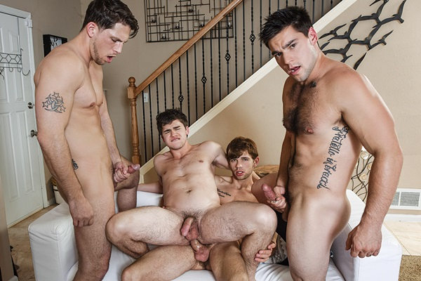 Dalton Briggs fucks Aspen, Roman Todd and Will Braun in The Purge at Jizzorgy