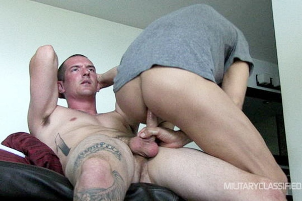 Tall handsome straight stud Grayson barebacks Rob at Militaryclassified