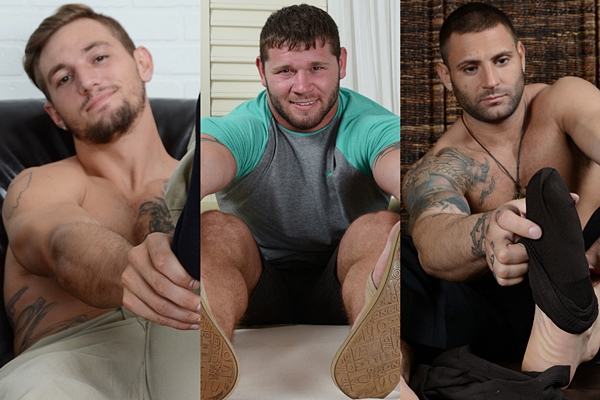 Hot straight studs Elijah J, Michael and Mike Buffalari show off their big feet at Myfriendsfeet
