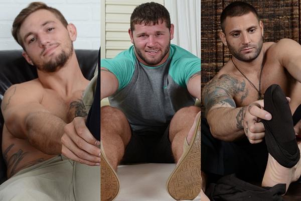 Hot straight studs Elijah J, Michael and Mike Buffalari show off their big feet at Myfriendsfeet