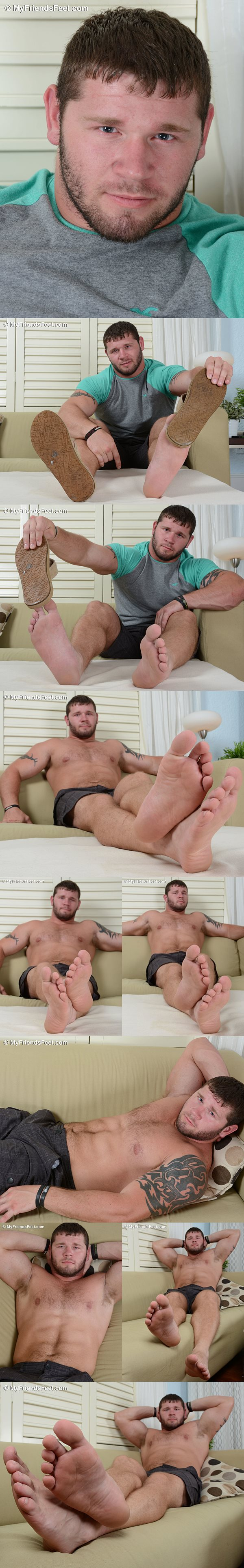 College football player Michael's masculine size 12 feet at Myfriendsfeet