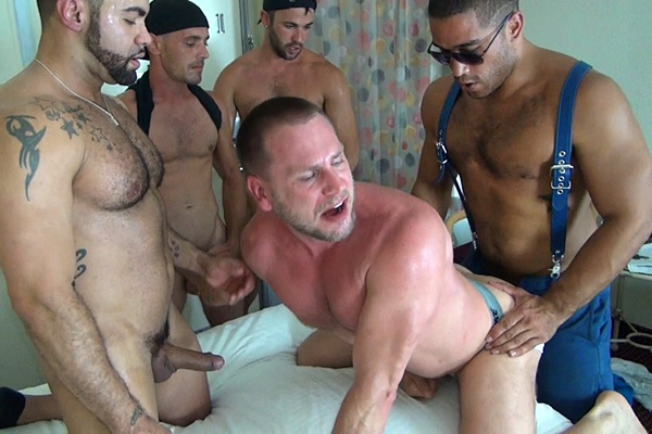 Alex, Alejandro Fusco, Brett Bradley & Trey Turner gangbang Hans Berlin at Rawfuckclub