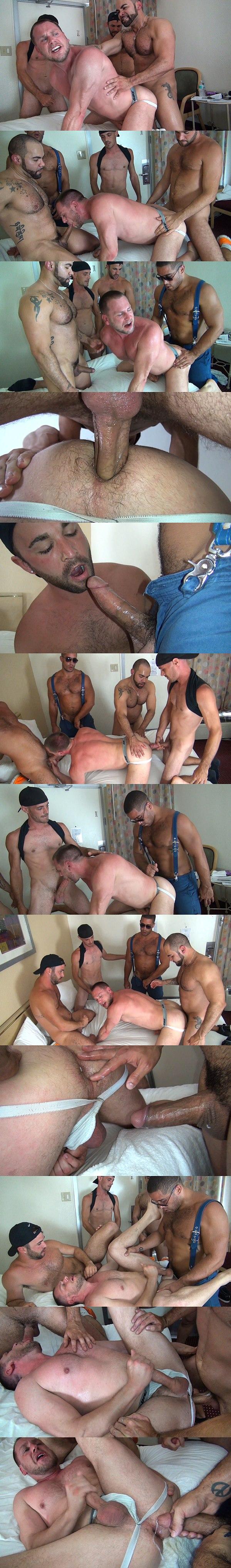 Alex, Alejandro Fusco, Brett Bradley & Trey Turner gangbang Hans Berlin at Rawfuckclub 02