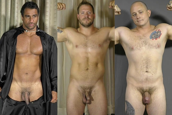 Hot macho hunks Apollo, Caiden & Michael jerk off at Theguysite