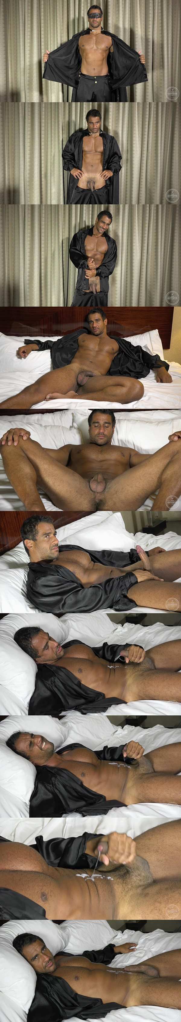 Sexy masculine Brazilian shoots a thick load at Theguysite