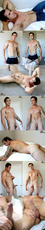 Tall handsome muscle jock Richard Sutherland masturbates at Gayhoopla