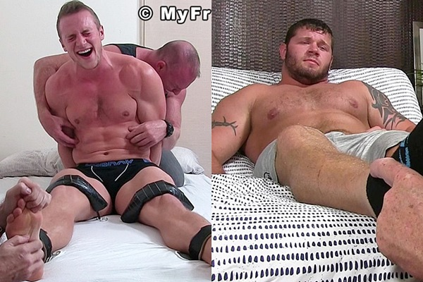 Hot muscle jocks Kenny tickled and Michael foot worshiped at Myfriendsfeet