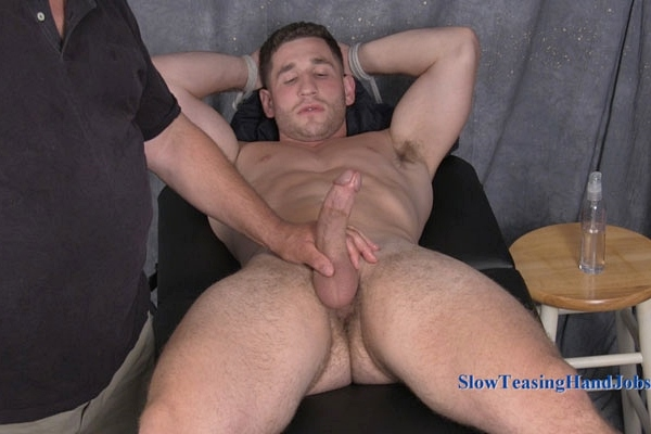 Handsome construction worker Anthony massaged and edged at Slowteasinghandjobs
