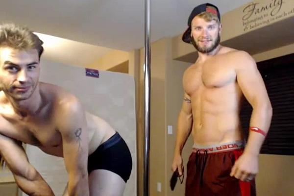 Hot muscle jock Max Bond and Jake Karhoff spank each other at Voyeurboys