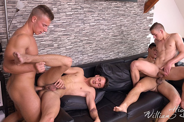 Bradley Cook and Honza Onus bareback Filip Vacek and Bened Faust in Wank Party 2016 07 Part #2 at Williamhiggins