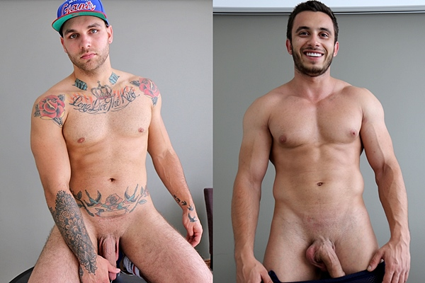 Handsome Aussie muscle jock Hunter Jones and James Nowak wank off at Bentleyrace