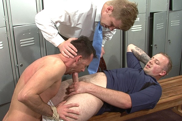 Master Derek and Master Edward torment a feeble sub in Session 332 at Brutaltops