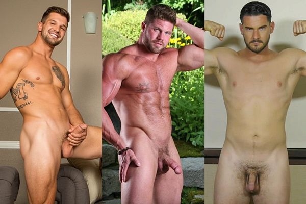 Hot muscle hunks Brysen, Buck Andrews and Gio jerk off