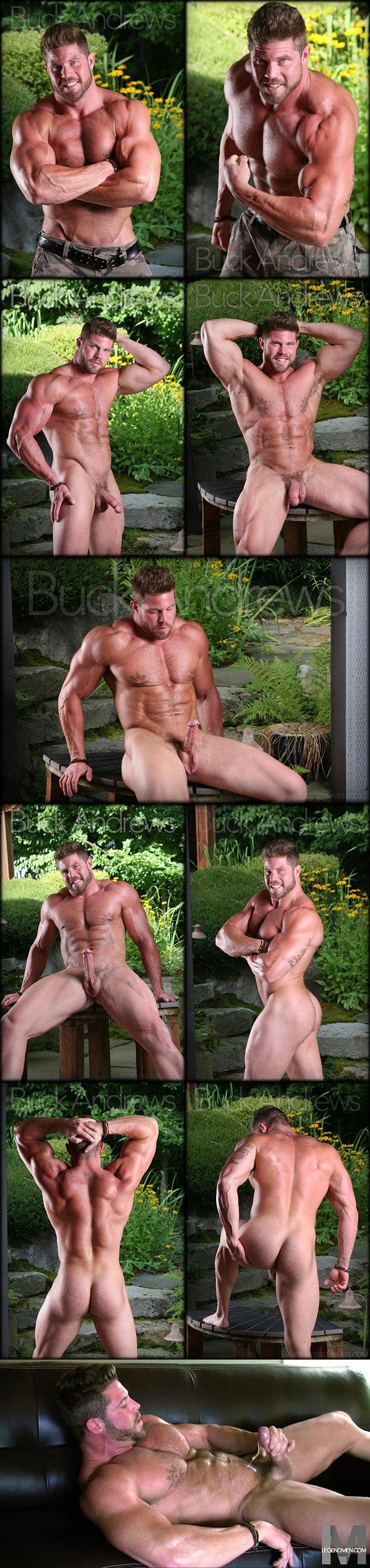 Masculine beefy stud Buck Andrews shoots a thick load at Legendmen