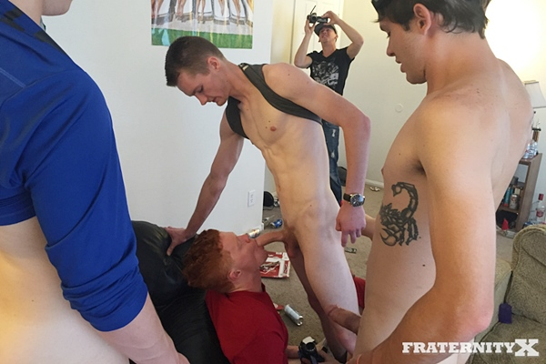 Jessie, John & Stone Gangbang Creampie Mickey in Fratboy Tied Up at Fraternityx