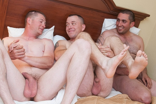 Hot straight dudes Brooks, Harvey and Sgt Semen side by side jerk off at Fredsugar